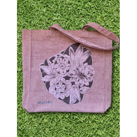 Flowers Tote Bag, burgundy