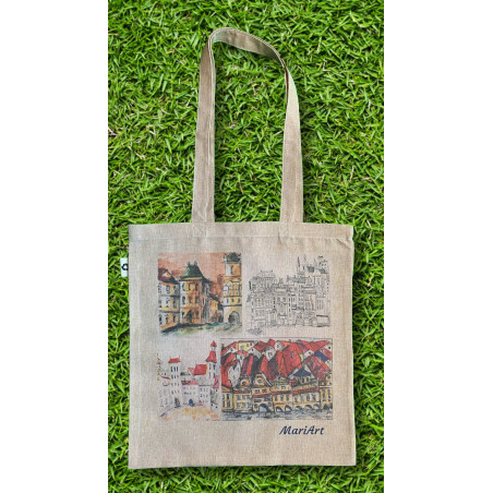 Town squares Tote Bag, beige