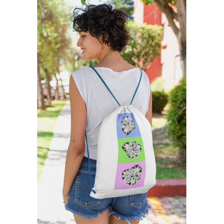 Cotton drawstring bag with floral ornament